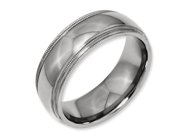 Titanium Grooved and Beaded 8mm Polished Comfort Fit Wedding Band Ring (SIZE 8 )