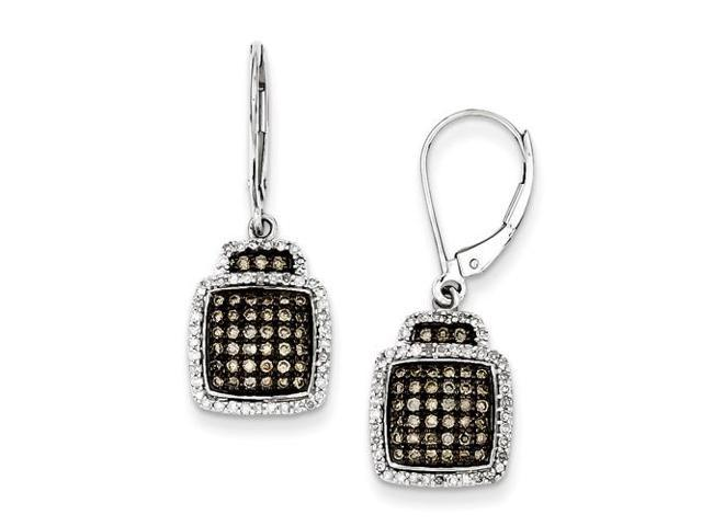 Sterling Silver Champagne Diamond Square Leverback Earrings Newegg