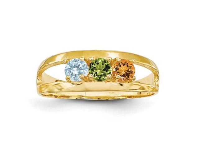 14K Yellow Gold  Polished 3-Stone Mothers Ring Mounting, Stones Not Included