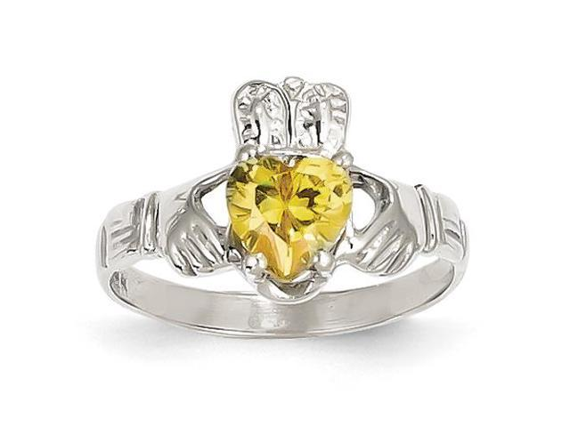 14k white gold hite gold november birthstone claddagh ring