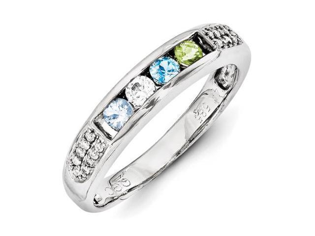 14k white gold family jewelry semi set ring
