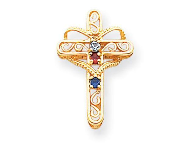 14K Yellow Gold  Polished Filigree 3-Stone Mothers Cross Pendant Mounting, Stones Not Included