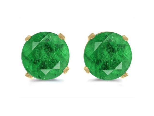 14K Yellow Gold 5mm Round Emerald Stud Earrings