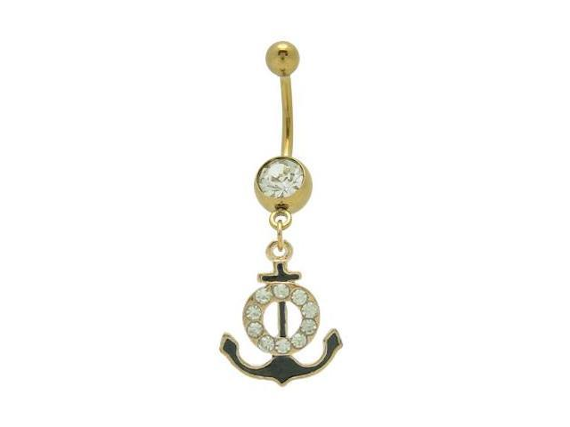 Gold Plated Dangle Boat Anchor Belly Ring with Cz Gem