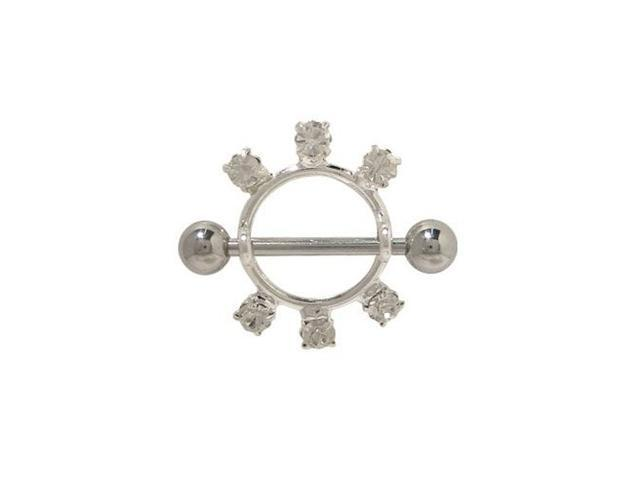 Nipple Shield in Sterling Silver Design with Clear Jewels