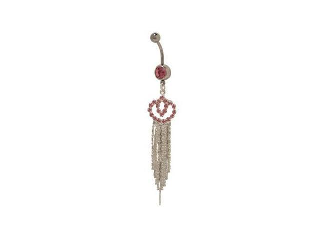 Dangler Belly Button Ring with Pink Cz Jewels