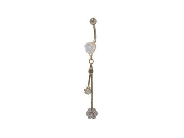 Dangling Flower Belly Button Ring with Clear Cz Jewels
