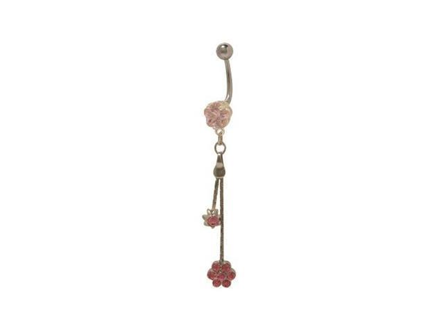 Dangling Flower Belly Button Ring with Pink Cz Jewels