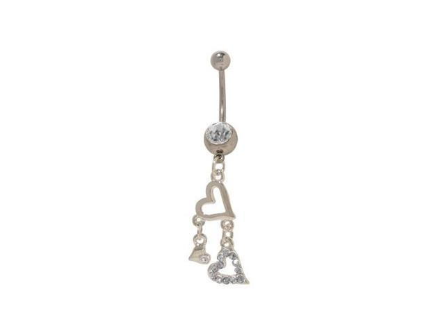 Dangling Hearts Belly Button Ring with Clear Cz Gems
