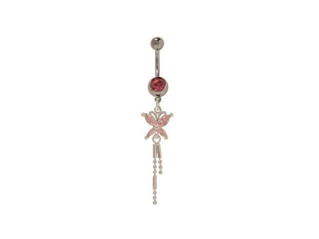 Dangling Butterfly Belly Button Ring with Pink Cz Jewels