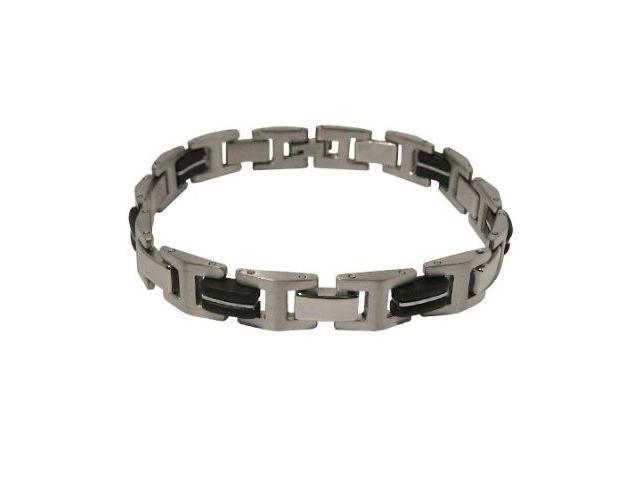Black Rubber Stainless Steel Bracelet