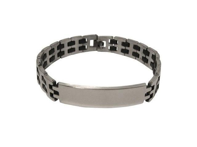 Classic Stainless Steel and Black Rubber Bracelet
