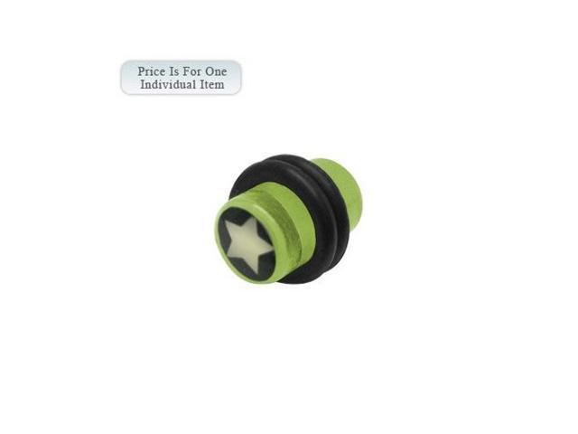 2 Gauge Star Logo Acrylic Green Ear Plug