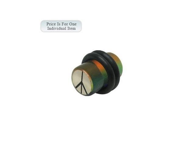 2 Gauge Peace Sign Logo Acrylic Multi Color Ear Plug
