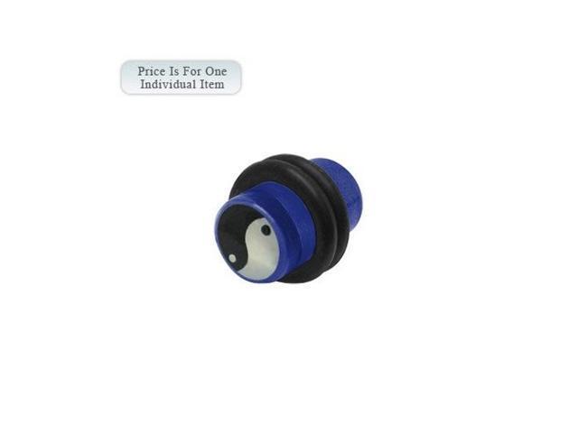 2 Gauge Ying Yang Logo Acrylic Dark Blue Ear Plug
