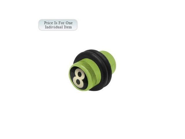 0 Gauge 8 Ball Logo Acrylic Green Ear Plug