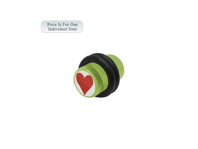2 Gauge Heart Logo Acrylic Green Ear Plug