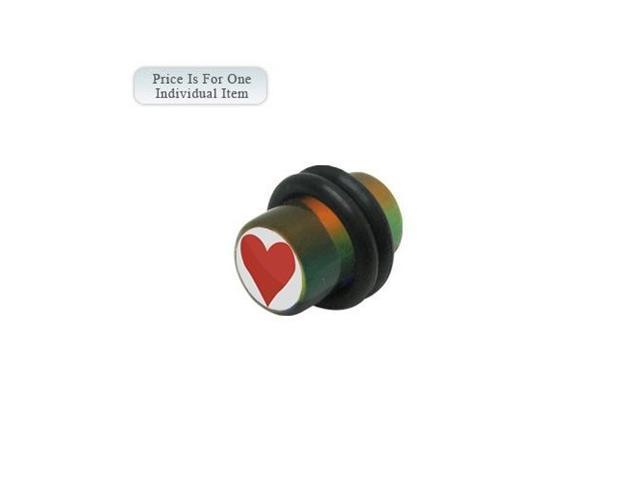 0 Gauge Heart Logo Acrylic Multi Color Ear Plug