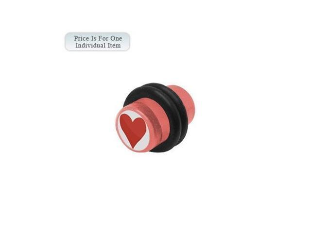 0 Gauge Heart Logo Acrylic Pink Ear Plug
