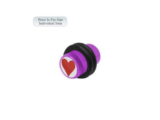 0 Gauge Heart Logo Acrylic Purple Ear Plug