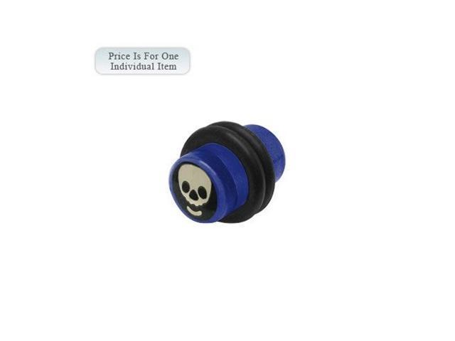 0 Gauge Skull Logo Acrylic Dark Blue Ear Plug