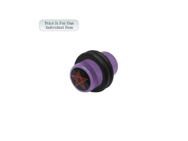 0 Gauge Pentagram Star Logo Acrylic Purple Ear Plug