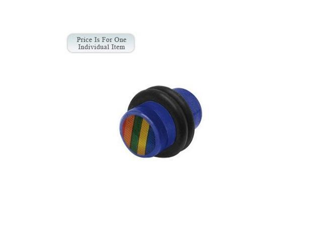 0 Gauge Rainbow Logo Acrylic Dark Blue Ear Plug