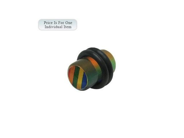 0 Gauge Rainbow Logo Acrylic Multi Color Ear Plug
