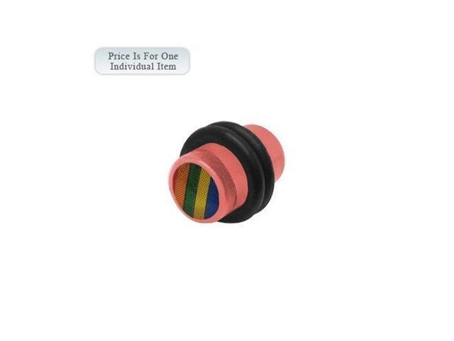 0 Gauge Rainbow Logo Acrylic Pink Ear Plug