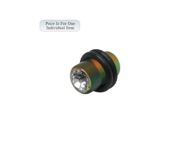2 Gauge Multi Color Acrylic Ear Plug with Clear Cz Gem