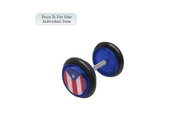 Blue Acrylic 14 Gauge Puerto Rican Flag Logo Ear Plug