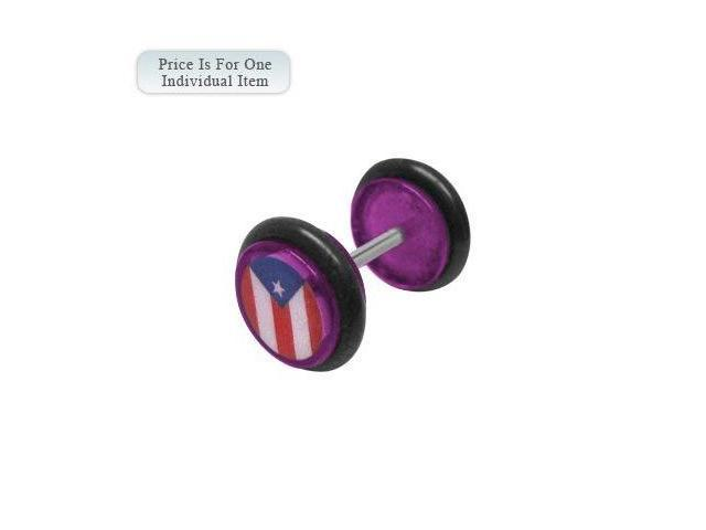 Purple Acrylic 14 Gauge Puerto Rican Flag Logo Ear Plug