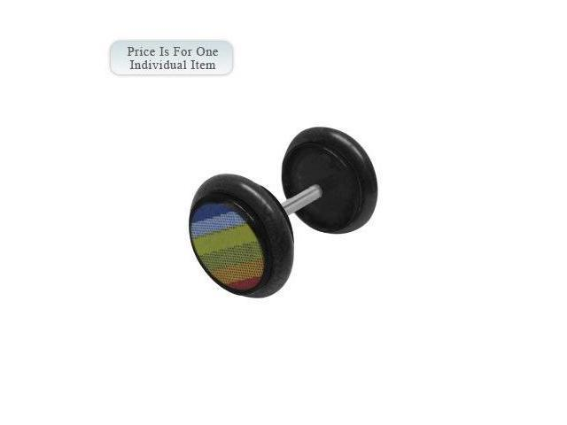 Black Acrylic 14 Gauge Rainbow Logo Ear Plug