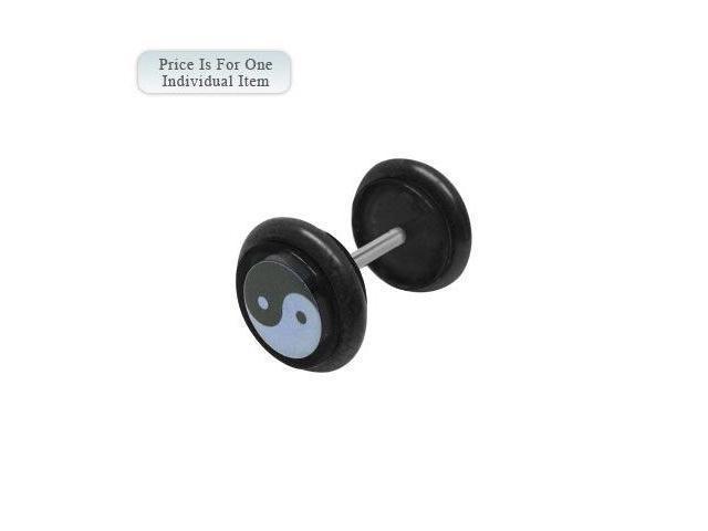 Black Acrylic 14 Gauge Ying Yang Logo Ear Plug