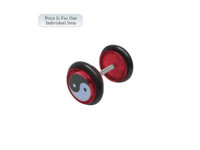 Red Acrylic 14 Gauge Ying Yang Logo Ear Plug
