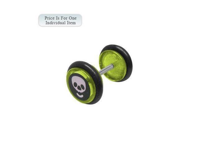 Green Acrylic 14 Gauge Skull Logo Ear Plug