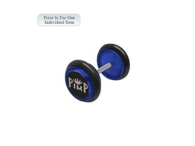 Blue Acrylic 14 Gauge Pimp Logo Ear Plug
