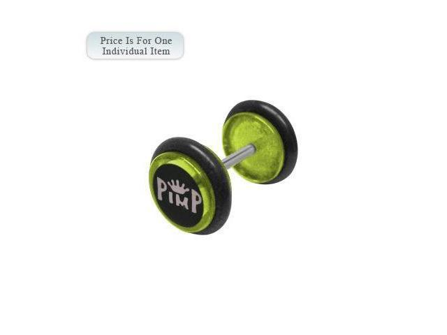 Green Acrylic 14 Gauge Pimp Logo Ear Plug
