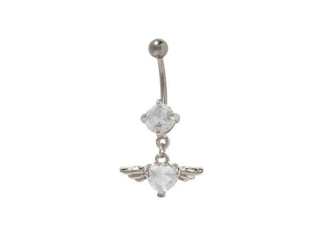 Dangling Clear Jewel Heart with Wings Belly Ring