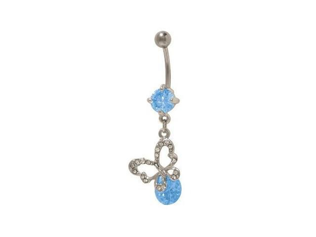 Dangling Butterfly Belly Button Ring with Blue & Clear Cz Jewels