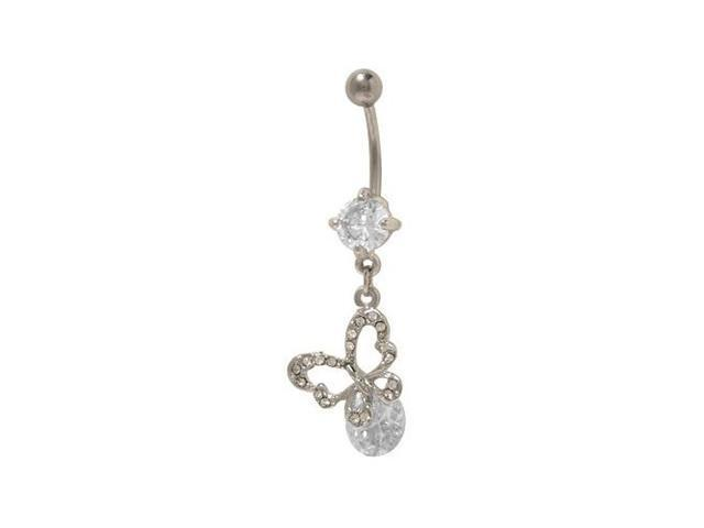 Dangling Butterfly Belly Button Ring with Clear Cz Jewels