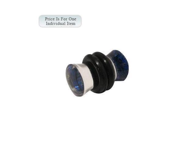 Clear Acrylic Ear Plug with Blue Glitter - 2 Gauge