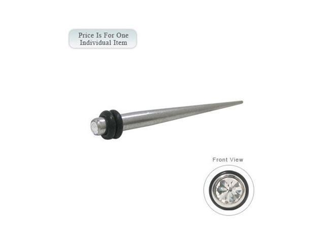 Surgical Steel Spike Ear Stretcher with Gem - 10 Gauge