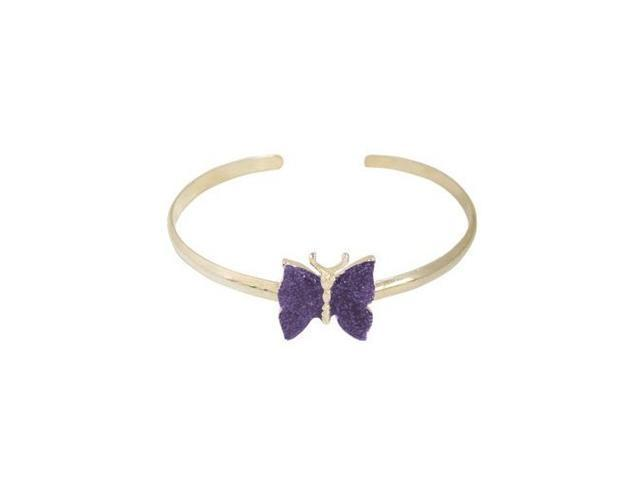 Silver Plated Butterfly Armband with Purple Glitter