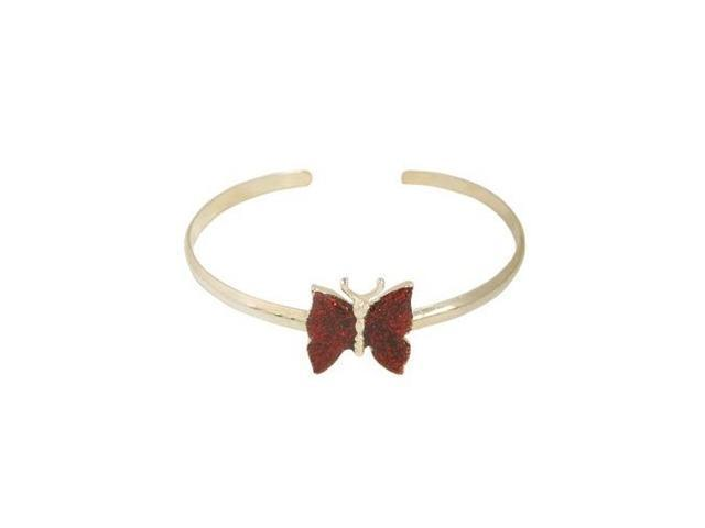 Silver Plated Butterfly Armband with Red Glitter