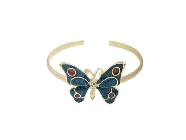 Silver Plated Butterfly Armband with Blue Glitter