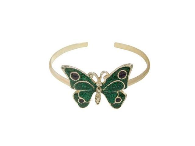 Silver Plated Butterfly Armband with Green Glitter