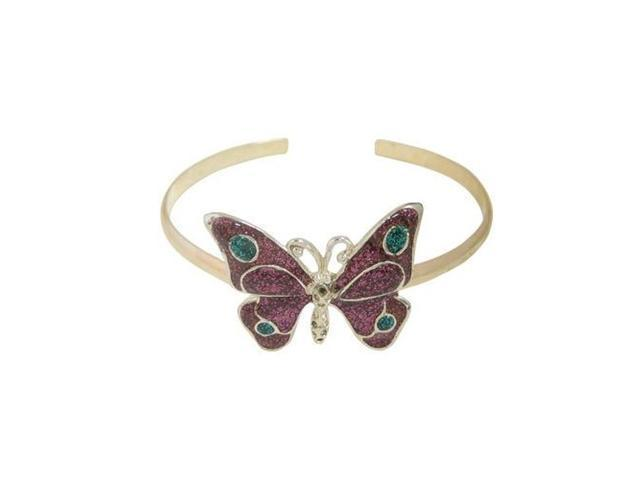 Silver Plated Butterfly Armband with Pink Glitter