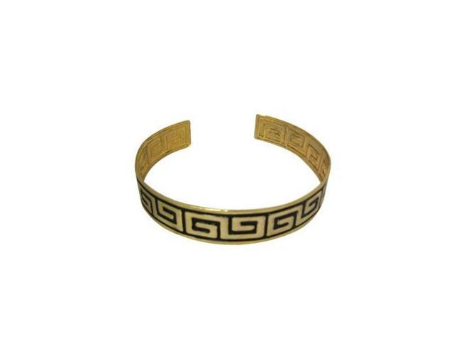 Armband with Unique Greek Key Design - Gold & Black Colors