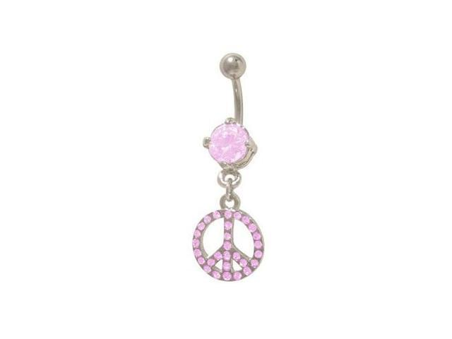 Dangling Peace Sign Belly Rings with Pink Jewels
